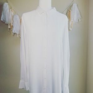 CLOTH AND STONE COLLARED BUTTON UP BLOUSE WHITE